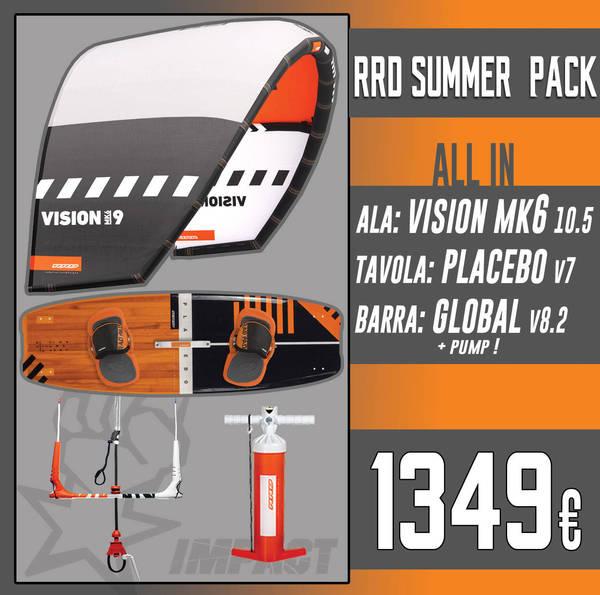 Rrd - KITE PACK Vision Mk6 + Placebo V7 + Global Bar V 8.2 + RRD Pump *SPEDIZIONE GRATUITA IN ITALIA*