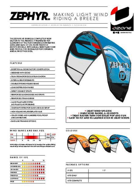Ozone - Zephyr 17 V5-only kite